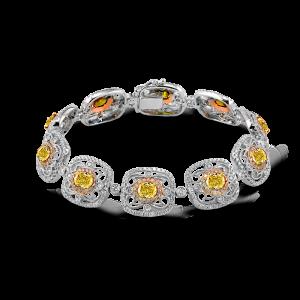 White Rose Yellow Gold Diamond Bangle Bracelet